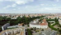 City aerial of Berlin at the district Schoeneberg in summer