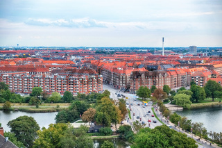The bird's eye view from the Church of Our Saviour on the Knippel Bridge in Copenhagen.