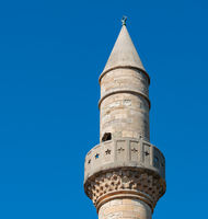 Spire of the Defterdar Mosque on the main square of Kos town on the island of Kos Greece