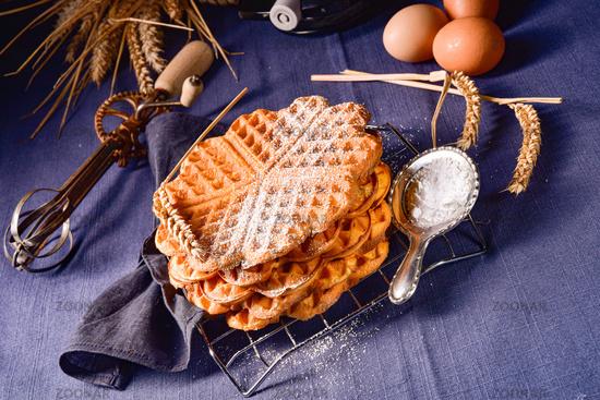 delicious sugared homemade waffles