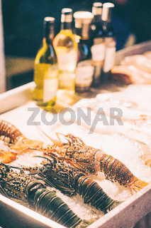 seafood dinner with wine