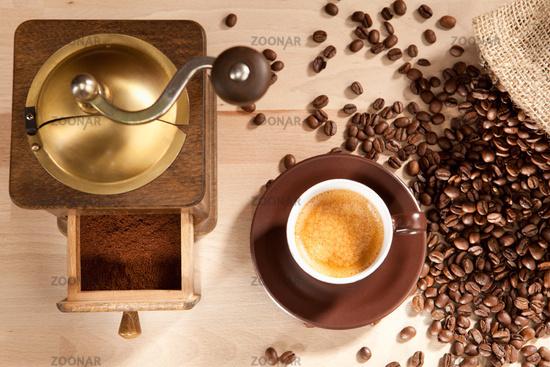 Indulgence of freshly ground coffee beans