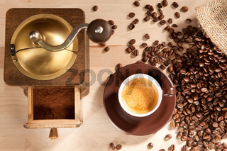 Indulgence of freshly ground coffee beans