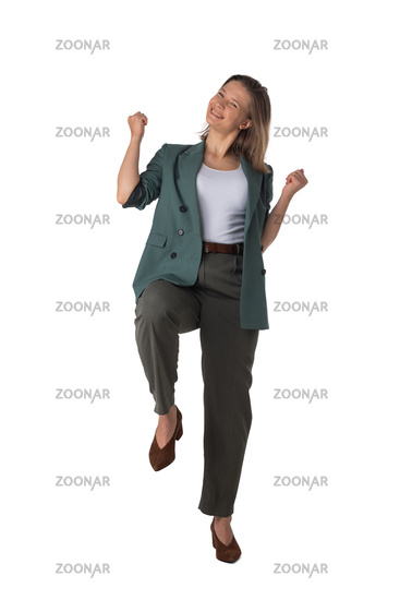 Business woman holding fists