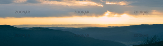 Scenic panorama of sunset over Ukrainian landscape from borders with Slovakia