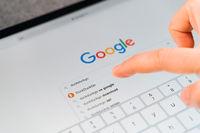 Poltava, Ukraine - Jan 2021 Googling duckduckgo searching engine for private online usage. Data security online