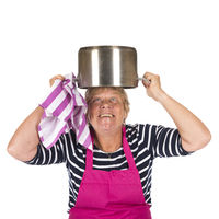Funny elder woman with pan on head