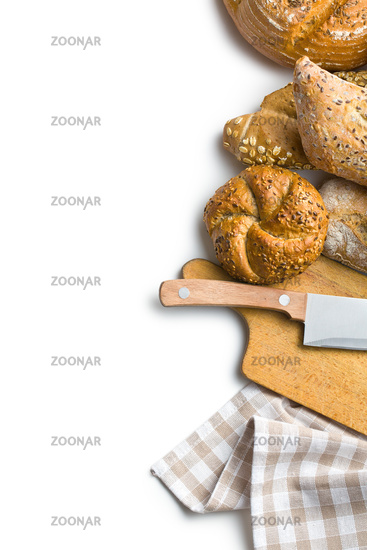 various breads with cutting board and knife