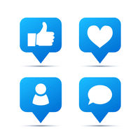Set of bright blue trendy icons for social network. Likes, friends and comments piktogram on white