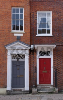 22 September 2020 - England: Portrait image of Georgian front doors
