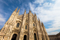 Milan Cathedral (Duomo di Milano) with blue sky and sunset light
