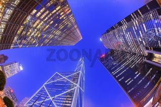 Financial district of Hong Kong at dusk