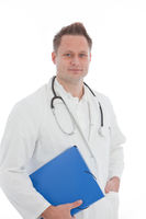 Male doctor with a folder of patient records