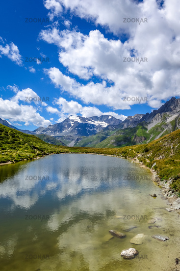 Lake of the nail, Lac du clou, in Pralognan, french alps