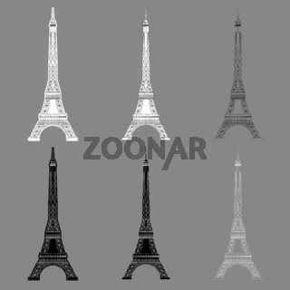 Set Eiffel Tower isolated on gray background. Real scale image