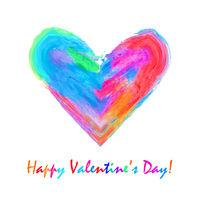 Multicolored watercolor heart