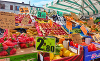 Market stall with fruits and vegetables