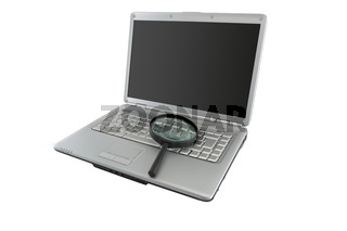 Data security concept magnifying glass on laptop PC with dark screen for copy space