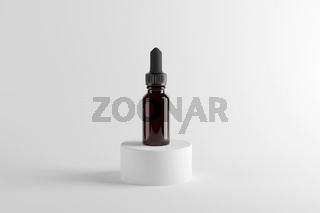 Glass brown bottle with essential oils and dropper. 3d render. mock up