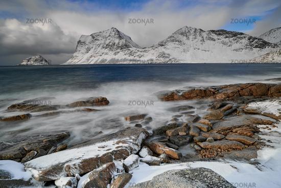 Lofoten Norway Haukland Beach winter season