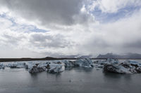 Glacial lake with icebergs, Skaftafell, Iceland