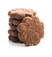 Sweet cookies. Crunchy chocolate biscuits shape flower.
