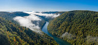 Panorama of gorge of the Cheat River upstream of Coopers Rock State Park in West Virginia with fall colors