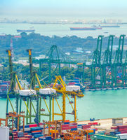 Singapore port shipping containers cranes