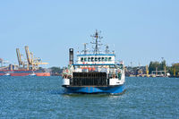 City ferry between the islands of Wollin and Usedom on the way to Swinoujscie on Usedom