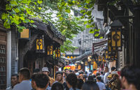 Crowds in Ci Qi Kou Ancient town in Chongqing