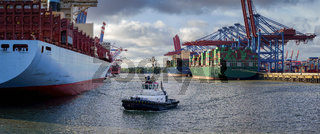 Large container terminal in Hamburg in good weather
