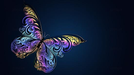 Beautiful glowing multicolored butterfly