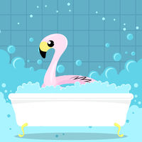 Inflatable Pink Flamingo Toy on Bath Background. Swimming Pool Ring for Kids. Rubber Tropical Bird Shape