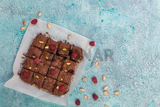 Brownies with dark chocolate, raspberries and sea salt.