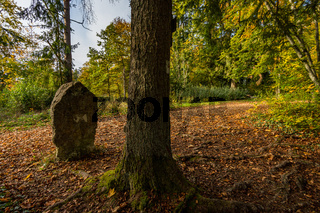Historic landmark on the hiking trail in the Danube Valley in autumn