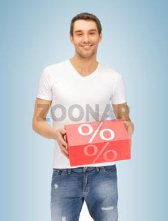 man with big percent box