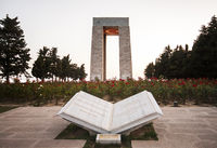Canakkale Martyrs' Memorial At Sunset With Turkish