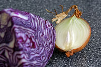 Onion and red cabbage