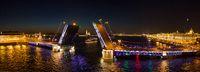 Aerial view of Palace bridge in St. Petersburg