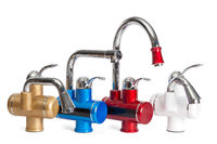 Cold and hot water mixer options on an isolated background.