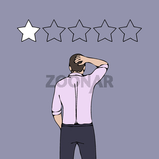 bad rating negative reviews problem business man concept