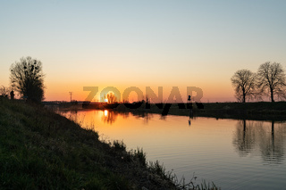 Sunset at the Havel Canal near Schoenwalde in Brandenburg, Germany