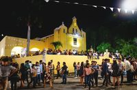 Visitors at the festival for day of the dead at the colonial church 'Santa Isabel' in Merida, Mexico
