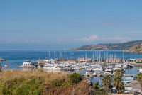 idyllic view of a small ship port and the sea - Calabria