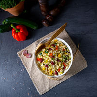 bulgur kaszotto with fresh vegetables and kidney bean