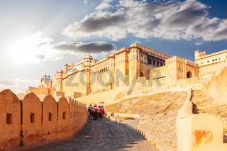 Amber Fort in Jaipur, India, beautiful view, no people