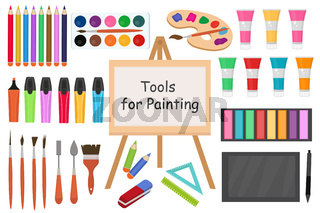 Art tools flat style icon set. Drawing tool, artist objects collection with markers, paints, pencils, brushes, tablet, stylus. School accessories. Vector illustration