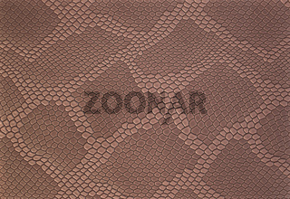 Light brown leather texture background with pattern, closeup. Reptile skin. Beige skin of a crocodile or a snake with vignette. Leatherette.
