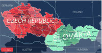 Czech Republic and Slovakia countries detailed editable map