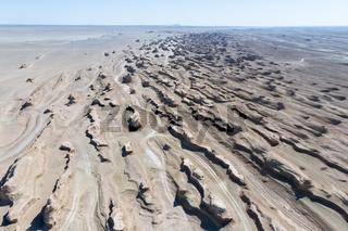 aerial view of wind erosion terrain landscape